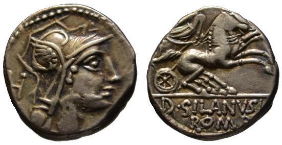 Ancient Coins - D. Silanus AR denarius - Victory driving Biga - 91 BC