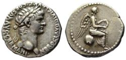 Ancient Coins - Nero AR quinarius / hemidrachm - Victory on Globe - Rare R2 good VF