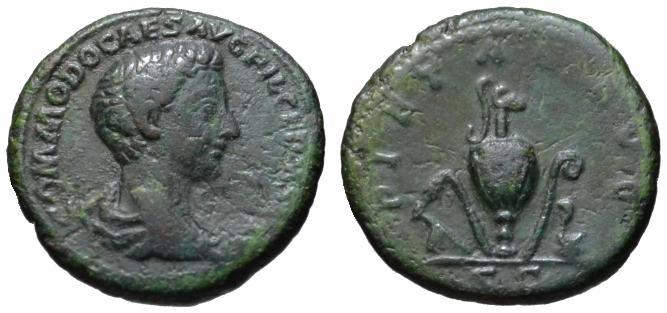 Ancient Coins - Commodus as Caesar AE As - Emblems of Pontificate - VF Scarce