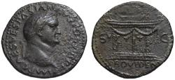 Ancient Coins - Vespasian AE As - PROVIDENT garlanded altar - Unusual decoration