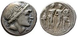 Ancient Coins - L. Memmius AR denarius - The Dioscuri - VF