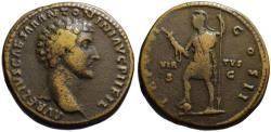 Ancient Coins - Marcus Aurelius AE sestertius - VIRTUS - as Caesar VF