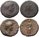 Ancient Coins - Lot of 2 AE As - Hadrian FIDES + Faustina AETERNITAS