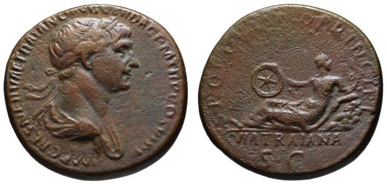 Ancient Coins - Trajan AE sestertius - VIA TRAIANA - Rare