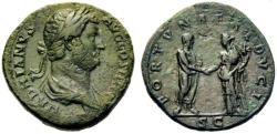 Ancient Coins - Hadrian AE sestertius - FORTUNAE REDUCI - Clasping hands