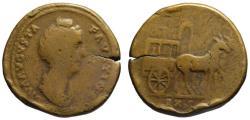 Ancient Coins - Diva Faustina AE sestertius - CARPENTUM EX SC - Very Rare R2