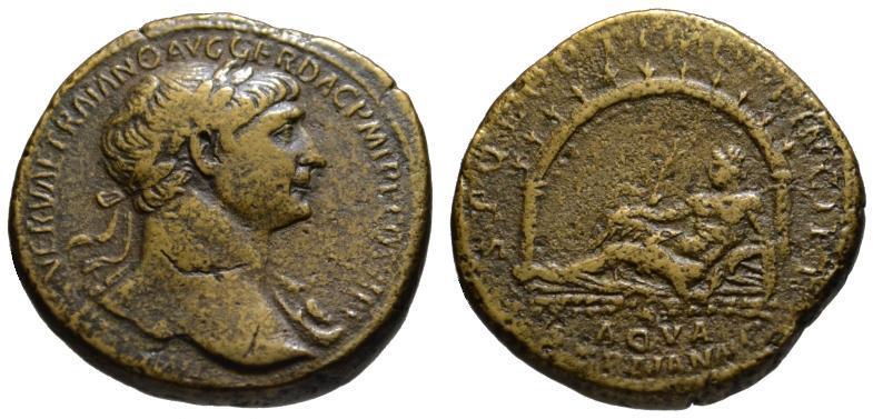 Ancient Coins - Trajan AE sestertius - AQVA TRAIANA - Very Rare