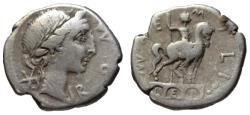 Ancient Coins - Aemilius Lepidus AR denarius - Equestrian Statue - 114 BC