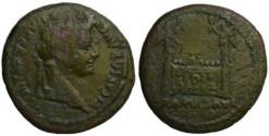 Ancient Coins -  Rare Tiberius AE semis - ROM ET AVG - altar of Lugdunum 14-21 AD