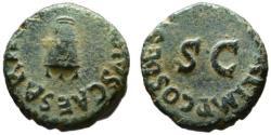 Ancient Coins - Claudius AE quadrans - Modius - 41 BC - Nice emerald patina