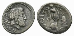 Ancient Coins - Rubrius Dossenus AR quinarius - Neptune & Victory - 87 BC