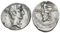 Ancient Coins - Octavian AR denarius - Apollo playing the lyre - Good VF