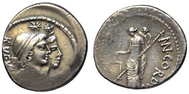 Ancient Coins - Cordius Rufus AR denarius - Dioscuri & Venus Verticordia - Good VF