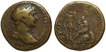 Ancient Coins - Trajan AE sestertius - Dacia Mourning - Scare