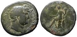 Ancient Coins - Hadrian AE sestertius - Roma seated on cuirass