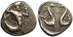 Ancient Coins - 19th C. BMC electrotype - Crete Itanos AR stater - Sea Monsters