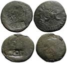Ancient Coins - Lot of 2 Augustus Countermarked AE As - TCA / CAESAR/ AE / AVG / CAE
