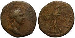 Ancient Coins - Trajan AE As - Victory holding SPQR shield - Unusual elderly portait