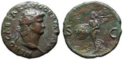 Ancient Coins - Nero AE As - VICTORY - Rome mint Nice VF
