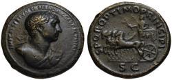 Ancient Coins - Trajan AE sestertius - Slow Quadriga - Very Rare Heroic Bust