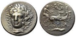 Ancient Coins - Sicily Katane tetradrachm - BMC Electrotype dies by Becker