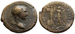 Ancient Coins - Trajan AE As - Victory crowning Trophy - Bold portrait