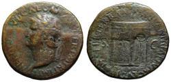 Ancient Coins - Nero AE sestertius - Temple of Janus - Scarce left facing