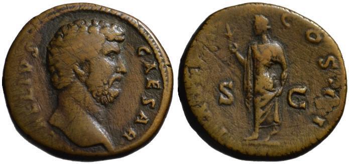 Ancient Coins - Aelius Caesar AE sestertius - SPES - Scarce VF