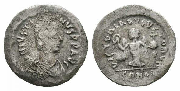 Ancient Coins - Justin II AR half Siliqua - The Second & Finest Known - Struck from Tremissis dies