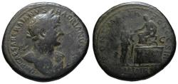 Ancient Coins - Hadrian AE sestertius - LIBERTAS RESTITUTA platform - Rare (R2)