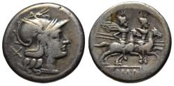 Ancient Coins - Anonymous Republican AR denarius - Dioscuri - After 211 BC