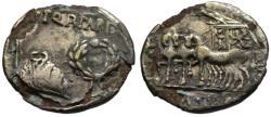 Ancient Coins - Augustus AR fourree denarius - Toga Picta - Very Rare R2 var.