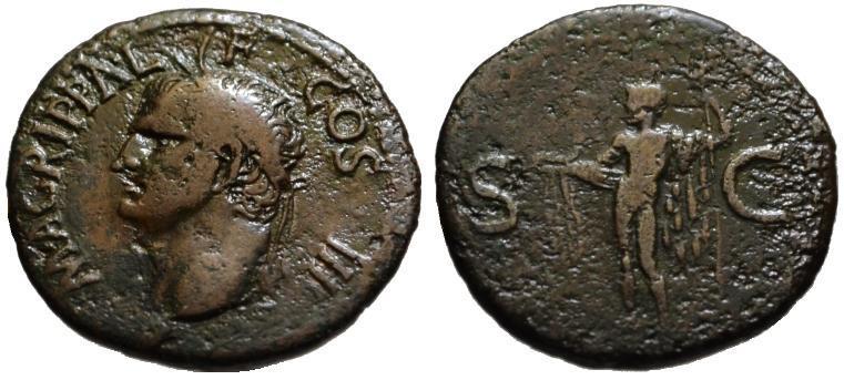 Ancient Coins - Agrippa AE As - NEPTUNE - under Caligula -  Near VF/F
