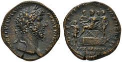Ancient Coins - Lucius Verus AE sestertius - REX ARMEN DAT - Rare King Sohaemus