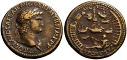 Ancient Coins - Paduan cast medal afer Cavino - NERO sestertius - Port of Ostia