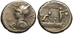 Ancient Coins - Licinius Nerva AR denarius - Voting scene - VF+