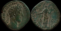 Ancient Coins - Commodus AE sestertius - FELICITAS - 187 AD  Attractive green patina