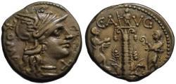 Ancient Coins - C. Augurinus AR denarius - Ionic Column - Early issue 135 BC