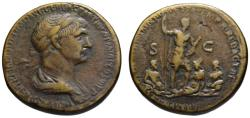Ancient Coins - Trajan AE sestertius - Mesopotamia with Tigris & Euphrates - Very Rare