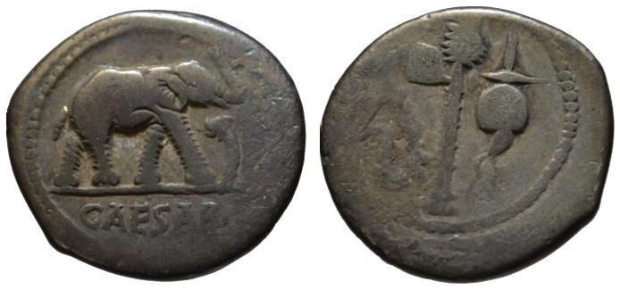 Ancient Coins - Julius Caesar AR denarius - Elephant - aVF  49 BC
