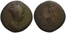 Ancient Coins - Sabina AE sestertius - CERES - Nice portrait - Under Hadrian