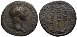 Ancient Coins - Trajan AE As - Aquila between Standards - gVF+  Scarce