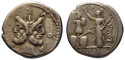 Ancient Coins - M. Furius AR denarius - Janus & Roma crowning trophy - 120 BC