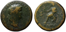 Ancient Coins - Nero AE sestertius - ROMA seated - Scarce