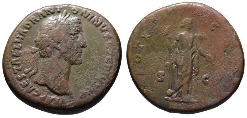 Ancient Coins - Antoninus Pius AE sestertius - FORTUNA - aVF