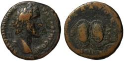 Ancient Coins - Rare - ANCILIA - Antoninus Pius AE As - Sacred Shields of Mars