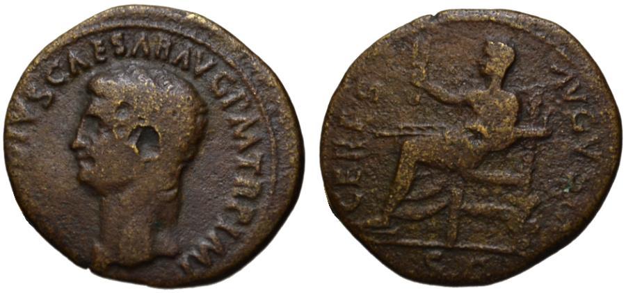 Ancient Coins - Claudius AE dupondius - CERES