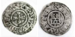 World Coins - Crusaders , Baldwin III (1143-1163). BI Denier R/ Tower of David