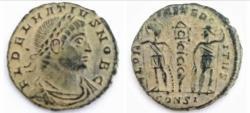 Ancient Coins - DELMATIUS, Caesar. 335-337 AD. Æ Follis (15.5mm, 1.6 gm).