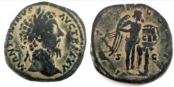 Ancient Coins - MARCUS AURELIUS AE sestertius. 171-173 AD. Victory placing inscribed shield on palm.
